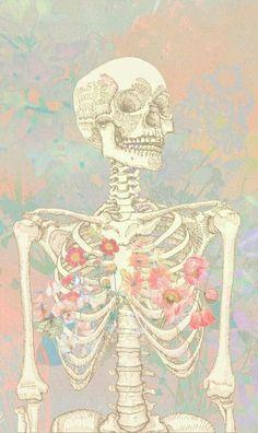 Skeleton Drawings, Skeleton Art, Art Drawings, Skeleton Makeup, Skull Makeup, Flower Anatomy, Skeleton Flower, Skeleton Anatomy, Medical Wallpaper