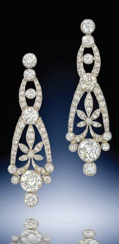 A pair of Edwardian diamond openwork chandelier ear-pendants mounted in platinum. Source: Humphrey Butler 2013-14 catalogue.