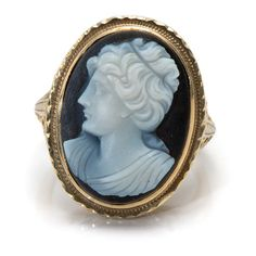 Oval Black Cameo Of A Woman Set In 14k Yellow Gold Ring With Filigree Shank