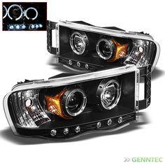 For 2002-2005 Dodge Ram Twin Halo LED Pro Headlights Blk Head Lights Lamp