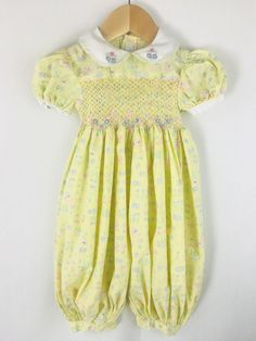 f8262cea571e Small Creations Lord   Taylor Yellow Floral Smocked Bubble Suit Romper 9  Months