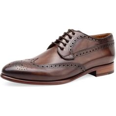 Curatore Men's Ash Derby Shoe - Dark Brown - Size 45 ($229) ❤ liked on Polyvore featuring men's fashion, men's shoes, men's oxfords, dark brown, mens derby shoes, men's blucher shoes, mens shoes, mens brogues and mens wing tip shoes