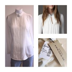 Burberry London Pleated Blouse Classy and elegant. Blouse with middle slit in chest. Color is natural white. has very all faint mark in front of blouse bear pleat. ( not noticeable unless looking up closely). also  has small mark on lateral aspect of shoulder see pictures four Burberry Tops Blouses
