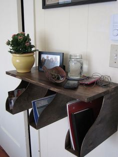 books, keys, notebooks -- shelf and storage!