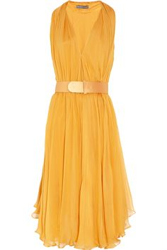 Vestidos sport elegante · alexander mcqueen belted silkchiffon dress in yellow (saffron) silk chiffon, chiffon dress, Cute Fashion, Look Fashion, Womens Fashion, Spring Fashion, Silk Chiffon, Chiffon Dress, Belted Dress, Silk Dress, Pretty Dresses