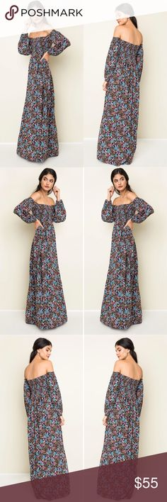 Sexy Sultry Bohemian Off-Shoulder Maxi Dress ** Expected shipment date of 11/01/2016 **  This is such a sexy and sultry free spirit dress - Elegant black floral bohemian print - Sexy off shoulder - Long maxi length with side slit - Has a Vintage Spanish flair to it - Just absolute gorgeous!   Fabric: 100% Cotton   Care: Hand wash cold, no bleach, hang dry Boutique Dresses Maxi