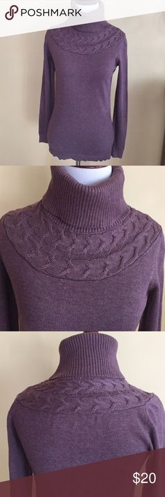 Rw & Co Turtle Sweater Berry colored sweater,color paler then pictured,pic# closer to actual color.turtle neck w/cable knit all around.Plain body & back.No stains or pulls.Fabric 60% cotton & 40 % rayon .Sz XS.Smoke free home.🚫trades. RW & Co Sweaters Cowl & Turtlenecks