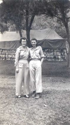 Nurses, from the Pennsylvania Hospital, pose for the camera during World War II. Many physicians and nurses from the hospital served in the war, in particular as part of the 52nd Evacuation Hospital in New Caledonia (Pacific Theater).