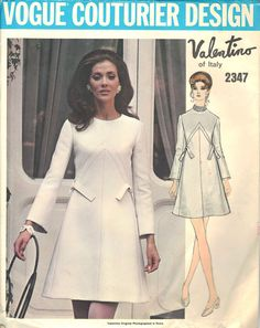 Vintage Valentino Vogue Couturier Design Dress Pattern, Size 14, Bust 36, Hip 38, No. 2347, 1970s High Fashion Designer