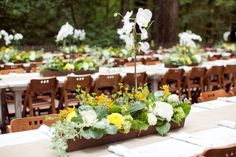 Centerpiece consists of a wooden box made from old redwood siding and phalaenopsis orchids and kale stocks