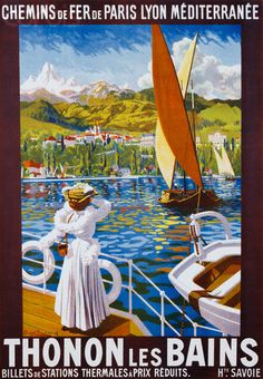 Vintage Railway Travel Poster - Thonon les Bains - poster by Robert Boullier.