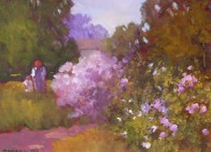 """""""In the Garden"""" by Monique Sakellarios.  9"""" x 12"""" Oil on Panel.  Available at Maine Art Paintings & Sculpture."""