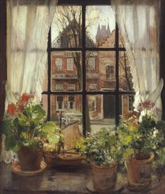 "Good Evening everyone, thank you for your pins today. Tonight and Tuesday, let's pin art by FERNAND TOUSSAINT. The Sill"" - Fernand Toussaint (Belgian, Window View, Window Art, Art And Illustration, Illustrations, Through The Window, Geraniums, Oeuvre D'art, Painting & Drawing, Painting Portraits"
