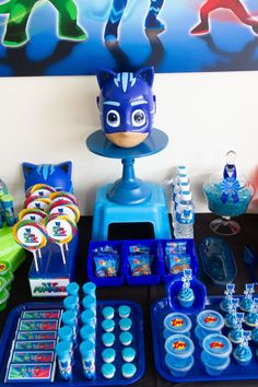 Catboy-inspired Party Table Section from a PJ Masks Birthday Party on Kara's Party Ideas Leo Birthday, Baby Boy 1st Birthday, 4th Birthday Parties, Birthday Diy, Pj Mask Party Decorations, Paw Patrol Decorations, Pjmask Party, Party Ideas, Pj Masks Birthday Cake