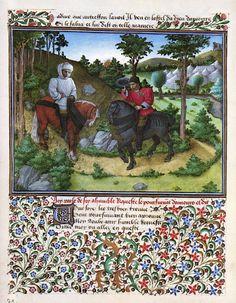 Barthélémy d'Eyck, Désir rencontre le messager d'Amour (Livre du Cœur d'Amour épris) (1457-72, Österreichische Nationalbibliothek, Wien)