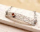 Everyday Textured Sterling Silver Bracelet Red Garnet Bracelet Birthstone Sleek Gemstone Bracelet Hand Fabricated Metalwork