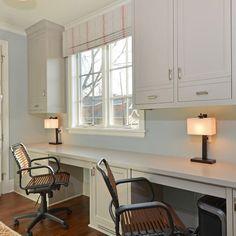 Home Office & Decks Design Ideas. 55673815 Beautiful Home Office Spaces. 5 Home Office Decorating Ideas Built In Desk, Home, Light Blue Walls, Bars For Home, House Interior, Contemporary Home Office, Shelving Design, Home Interior Design, Trendy Home