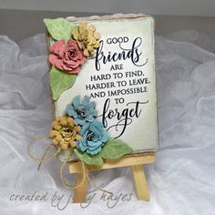 Create a sweet handmade gift like GOOD FRIENDS MINI CANVAS with Lace Ribbons + Adhesive Dots by @judesigns7 Supplies include: @spellbinders @pennyblackinc + @rangerink Let her share how it's done so you can recreate for you or a special friend. Visit the blog for a tutorial.