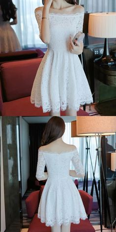 White Homecoming Dress,Lace Homecoming Dresses,Off Shoulder Prom Short Dresses,Cute Prom Dress,Lace Cocktail Dress,Semi Formal Dresses,Short Party Dresses