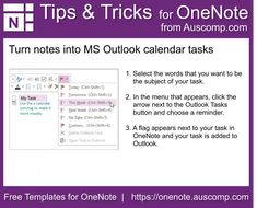 Tips and Tricks for OneNote users: Turn notes into MS Outlook calendar tasks. Please share. Task Calendar, Outlook Calendar, Software, One Note Tips, Onenote Template, One Note Microsoft, Microsoft Office, College Life Hacks, College Hacks