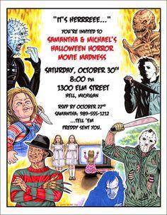 80s Halloween Horror Movie Theme Beer Label