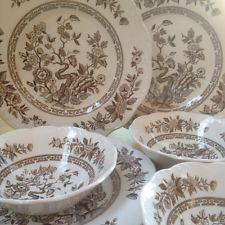 Brown J & G Meakin transferware, India, plates,bowls