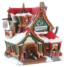 """Lemax The Elf Workshop. The Elf Workshop by Lemax brings the magic of Christmas to your place. Proudly flying the banner """"Expert Toy Makers"""" . Christmas Elves know how to have fun and do a great job at the same time. Village Lemax, Lemax Christmas Village, Christmas Town, Magical Christmas, Christmas Gingerbread, Christmas Villages, Christmas Crafts, Silver Christmas, Victorian Christmas"""