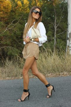 Camel shorts + ankle strap shoes