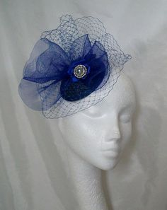 Sapphire Royal Cobalt Blue Blusher Veil by IndigoDaisyWeddings