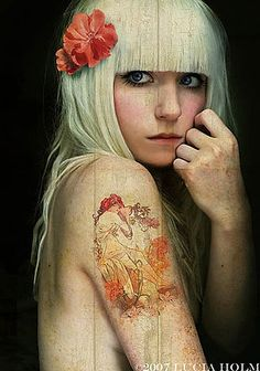 art nouveau tattoo, i really like the fall colors in this tattoo