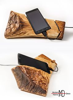 Beautiful smartphone dock station, handmade from gorgeous oak wood. Add a touch of nature to your work space or home with this handmade unique
