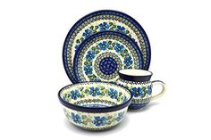 Polish Pottery 4pc Place Setting with Standard Bowl  Morning Glory <3 Details on product can be viewed by clicking the VISIT button