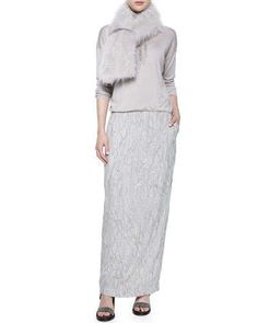 Brunello Cucinelli Cashmere Goat Fur Stole, Scalloped Breastplate Necklace & Long-Sleeve Embroidered Combo Gown Fall 2015
