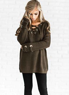 lace up sweater, sweater, fashion, style, blonde hair, half up hair, jessakae, olive sweater