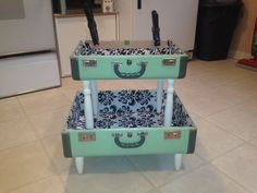 An idea for an old suitcase - take apart and add your fave things inside, cover with glass and put legs on it.