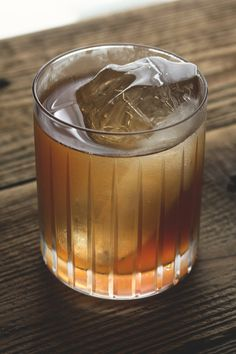Apple Shrub Cocktail: Lairds apple jack, nocino, apple shrub, Angostura bitters