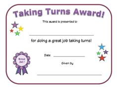 Taking turns award certificate for kids. Recognize a child for waiting their turn with this printable taking turns certificate for All Kids Network. Preschool Certificates, Free Printable Certificates, Award Certificates, Certificate Templates, Certificate Of Origin, Certificate Design, Kids Awards, Student Awards, Behavior Rewards