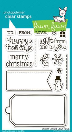 Fawn lawn gift tag stamp set