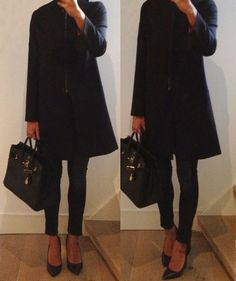 Black & navy outfit. Minimalistic coat from Articles AW13
