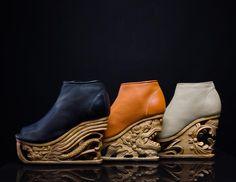 La designer vietnamienneLanVy Nguyen, basée à New York, a imaginé deschaussures étonnantes, dont les semelles en bois sont sculptées suivant les inspir