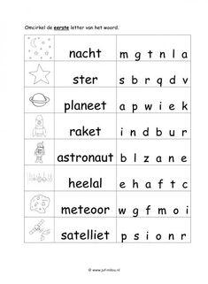 Download de pdf door op dit image te klikken Letters, Robots, Homeschooling, Website, Party, Outer Space, Astronauts, Planets, Night