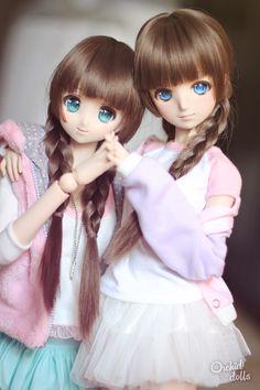 Millhie (Dollfie Dream Sister Millhiore) & Melocotón (custom Dollfie Dream Sister M.O.M.O.) | #dollfiedream #fairykei #fashion #doll