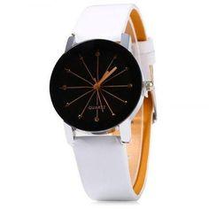 Women Quartz Watch Line Dial Leather Band - Watchesfixx