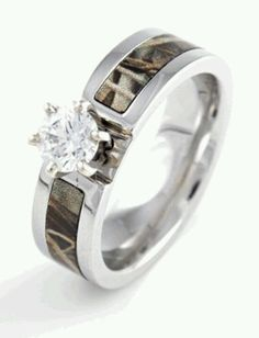 get a matching set of titanium wedding bands for you both in various camo patterns both rings will come in the camo pattern selected or you can sp - Camouflage Wedding Rings
