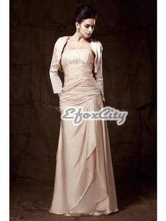 Delicated Pleats Sheath/Column Strapless Floor-Length Talines Mother of the Bride Dress EF72279