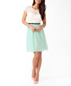 Textured Lace Sweetheart Dress | FOREVER 21 - 2031556737   Love the mint and lace