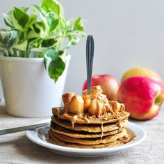 One thing is certain : you'll never really see me w/ a big pancake stack  its just not realistic for me because I will EAT IT ALL & thats not good for me hehe. I'm so ready for fall though, how about you?? These are pumpkin pancakes w/ peanut butter & cinnamon apples