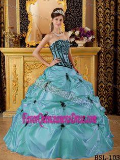 Fabulous Taffeta Appliqued Teal Ball Gown Sweet 15 Dresses Wholesale