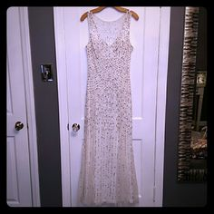 NWT Cache White/Silver Sequins Prom Dress!! Cache Brand New White dress with Silver and White Sequins. V-neck. Very Sparkly!!! I'm so in love with this dress!! Cache Dresses Prom
