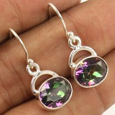 MYSTIC QUARTZ Oval Faceted Gemstones Small Lovely Earrings 925 Sterling Silver #Unbranded #DropDangle